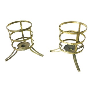 Vintage Mid-Century Brass Candle Holders - A Pair