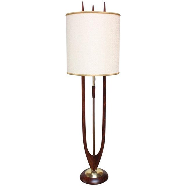 Image of Mid-Century Modeline Stained Walnut and Brass Floor Lamp