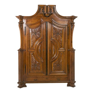 Rare Deeply Carved Italian Walnut Armoire