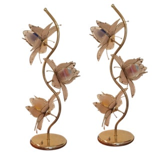 Vintage Glass Lotus Lamps - A Pair