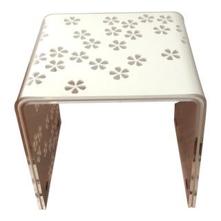 White Flower Inlay Acrylic Table