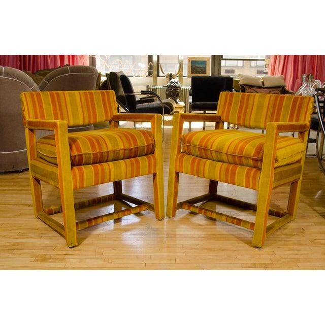 Mid-Century Orange Striped Velvet Armchairs - Pair - Image 6 of 10