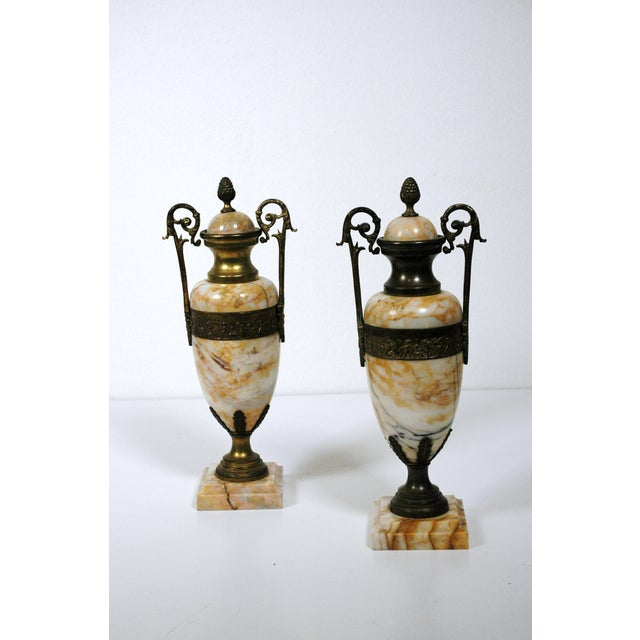 Pink Marble Urns - A Pair - Image 2 of 7