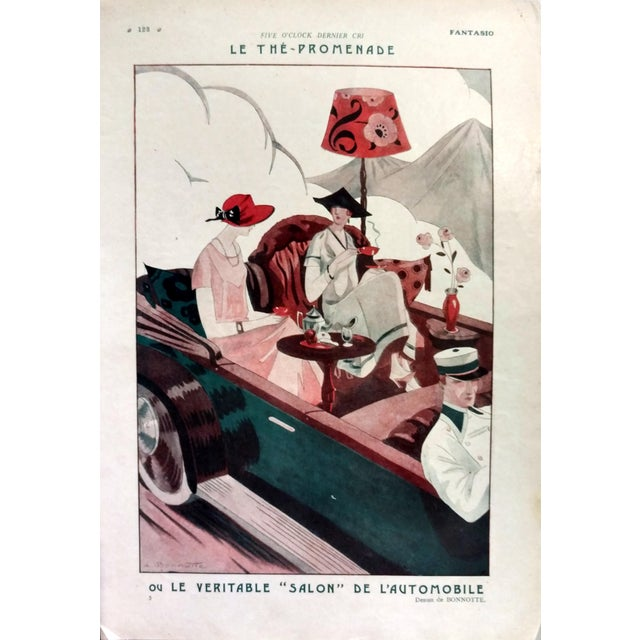 "Leon Bonnotte 1923 Fantasio ""5:00 The Tea-Walk Car Show"" Print - Image 1 of 4"