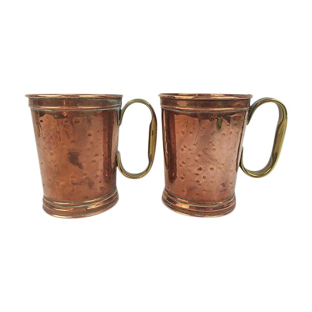 English Copper and Brass Mugs - A Pair - Image 1 of 3