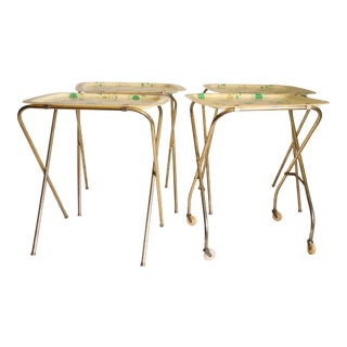 Mid Century Modern Yellow & Green TV Tray Tables - Set of 4
