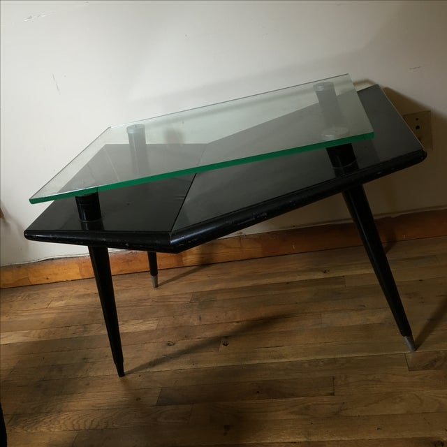 Mid-Century Modern Black Wood & Glass Side Table - Image 6 of 10