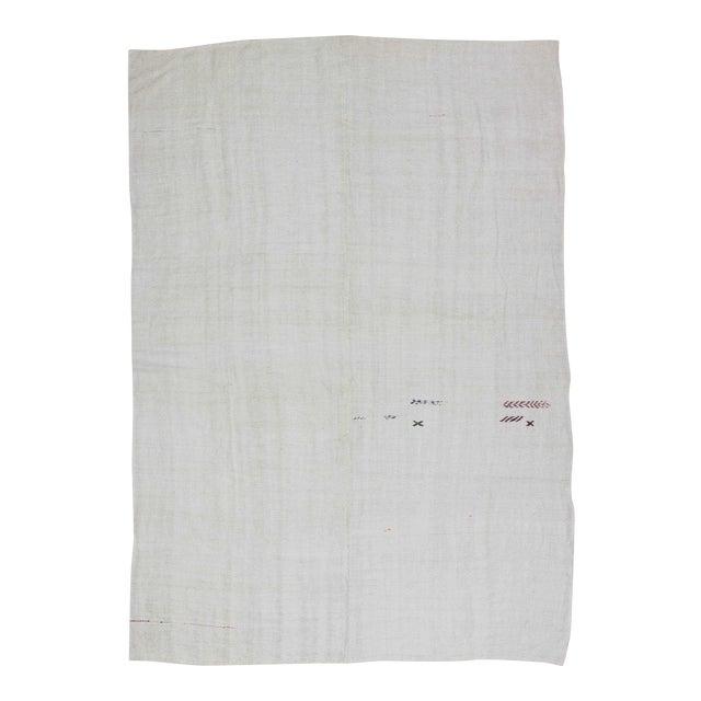 Vintgage white Turkish hemp kilim rug - Image 1 of 6