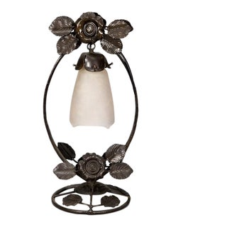 Fer Forge Table or Boudoir Lamp With Roses and Hanging Glass Shade