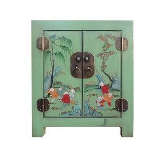 Petite Pastel Green Butterfly Top Nightstand