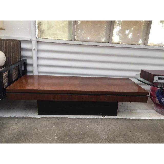 mid century lane wood coffee table plinth base chairish. Black Bedroom Furniture Sets. Home Design Ideas