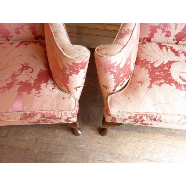 Image of Vintage Cherry Wingback Chairs - a Pair