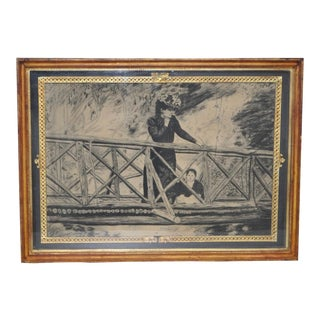 Antique Charcoal Drawing of Woman and Child Circa 1900