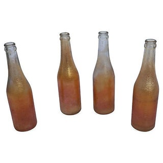 Marigold Carnival Glass Bottles - Set of 4