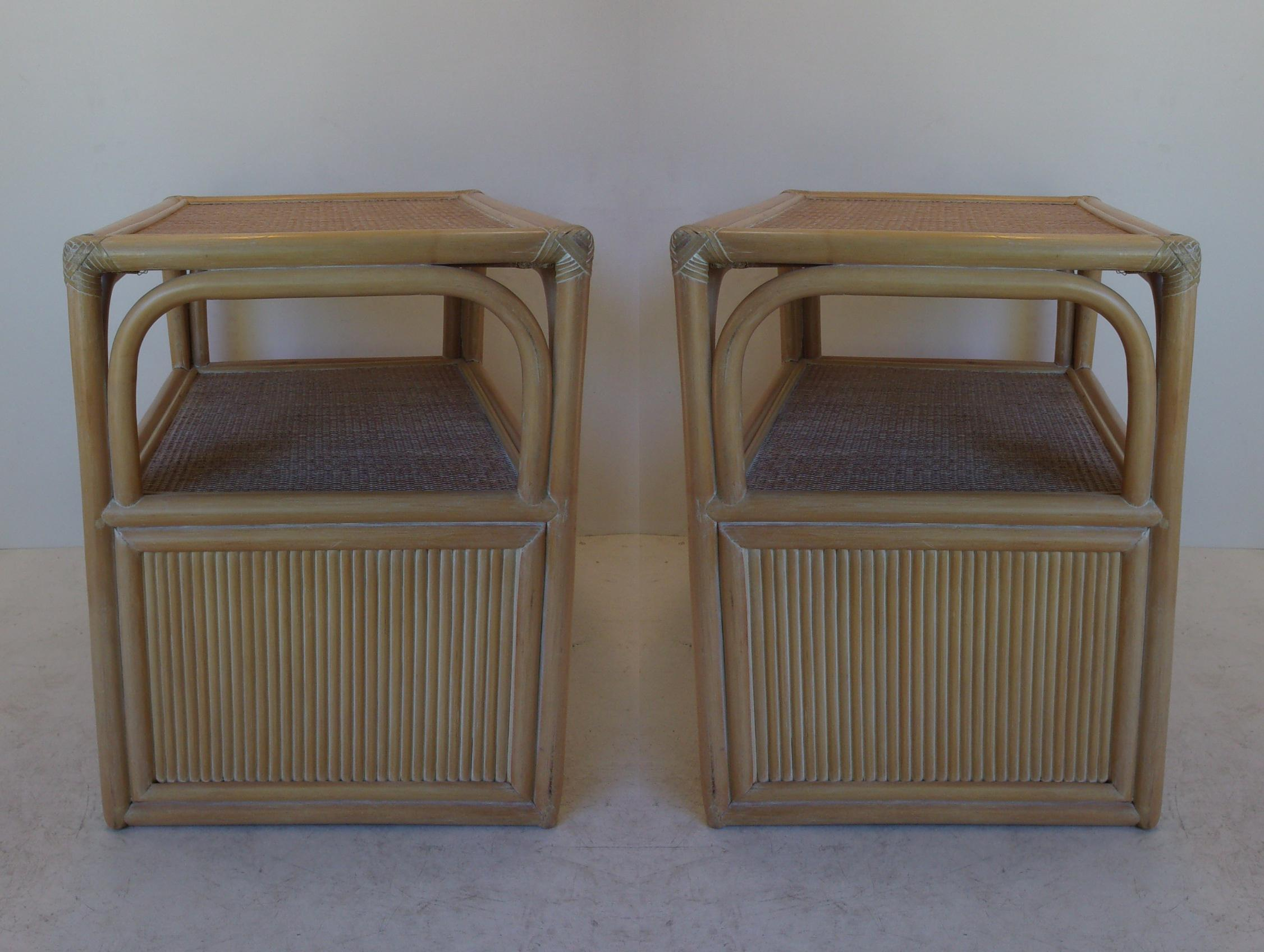 Vintage Palm Beach Style Side Tables Pair Chairish