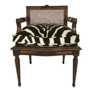 Forsyth One of a Kind French Louis XVI Style Caned Boudoir Chair With Custom Zebra Hide Cushion