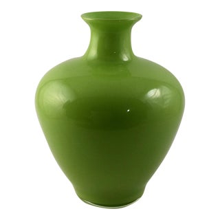 Mid-Century Green Cased Glass Vase