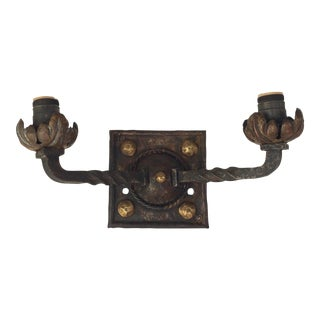 Wrought Iron and Brass Sconce