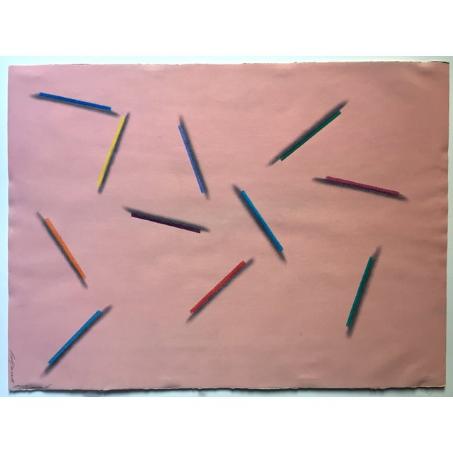 "Modernist Abstract Pastel ""Color Pencils"" - Image 2 of 7"