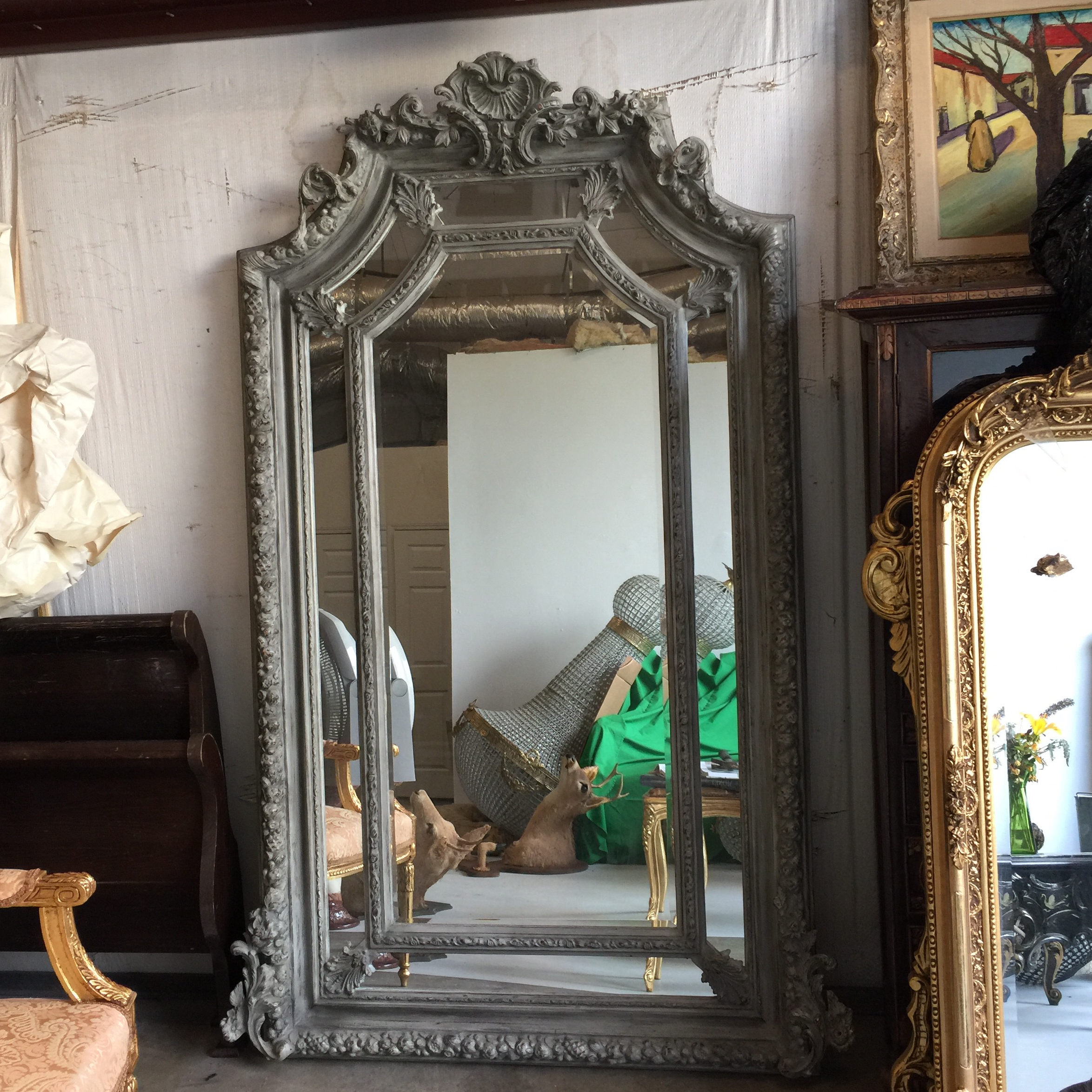 grey acanthus leaf oversized floor mirror image 2 of 6