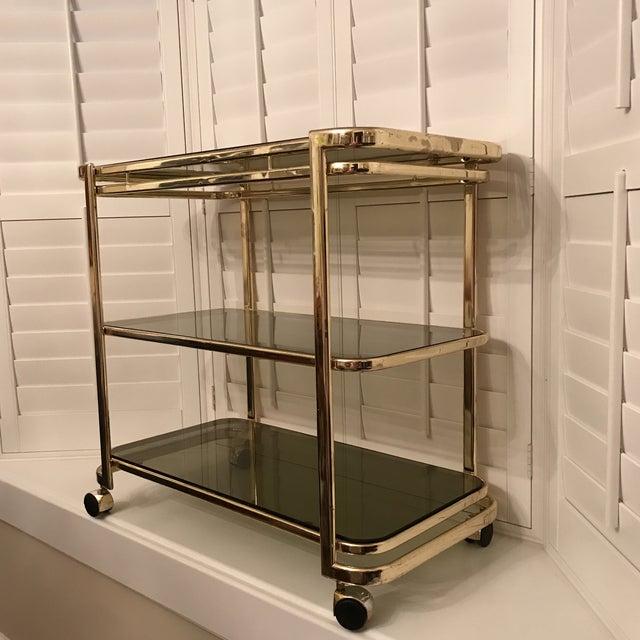 Mid-Century Brass & Smoke Glass Bar Cart - Image 3 of 10