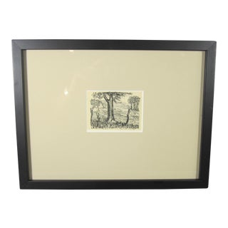 Miniature Barbed Wire Fence and Trees Lithograph