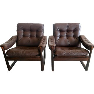 Oddmund Vad Rosewood & Leather Chairs - A Pair