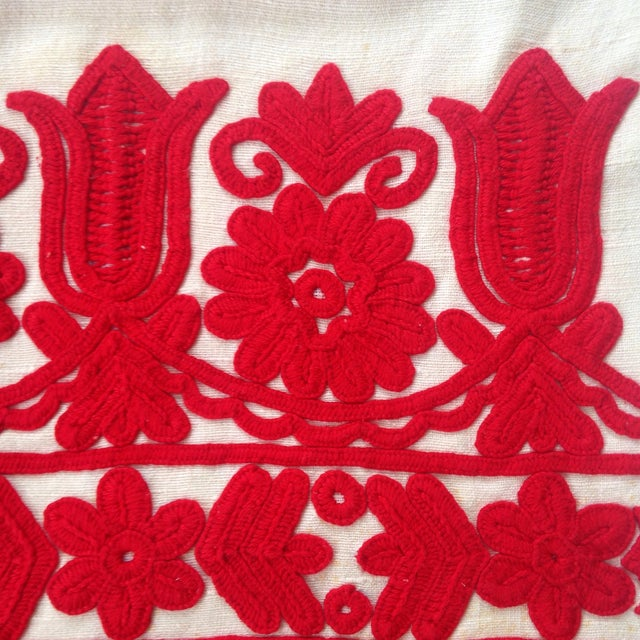 Vintage Red Embroidered Linen Pillowcase - Image 3 of 6