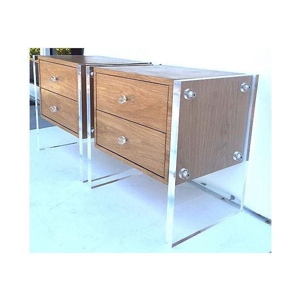 Mid-Century Floating Lucite Nightstands - Pair - Image 5 of 6