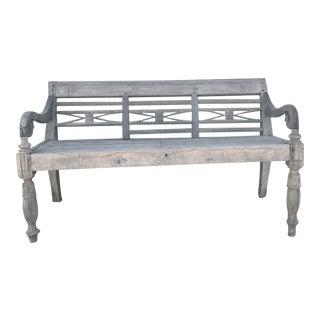Vintage Colonial Carved Teak Bench