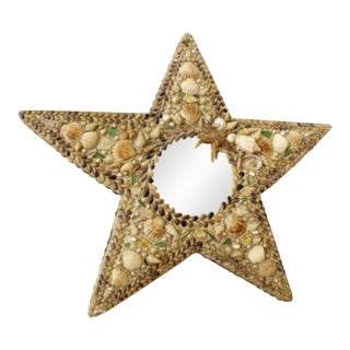Shell and Porcelain Inlaid Star Shaped Seashell Mirror