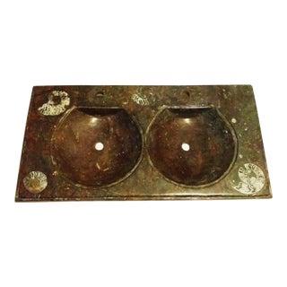 Dual Vanity Sink in Fossil Stone