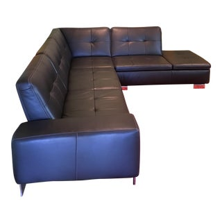 Scandinavian Design 2 Piece Black Leather Sectional Sofa