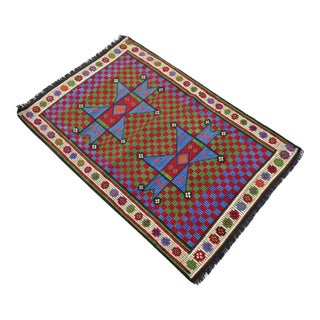 Turkish Hand Woven Wool Starry Jajim Mini Kilim Rug - 2′6″ X 3′9″
