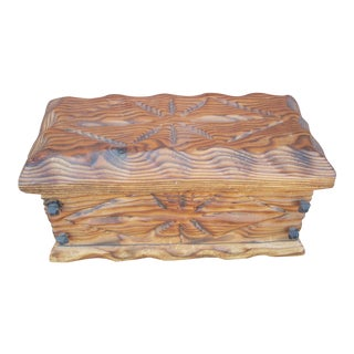 Rustic Carved Wooden Box