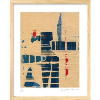 Modern 'Red Meets Blue #8' Framed Print