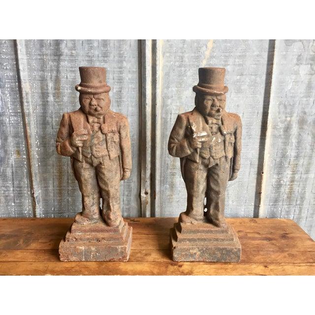 Antique Winston Churchill Cast Iron Andirons - A Pair - Image 2 of 10