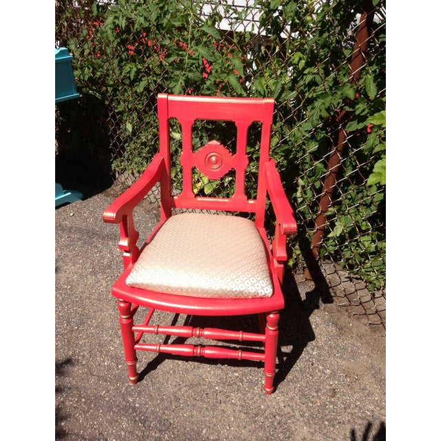 Victorian Eastlake Accent Chair Coral - Image 2 of 7