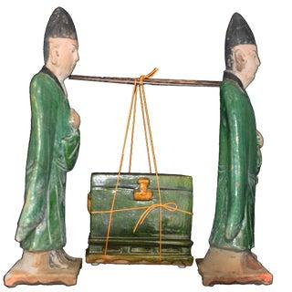 Pair Ming Dynasty Terra Cotta Glazed Figures