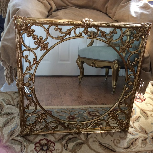 Ornate Brass Overlay Mirror - Image 2 of 4