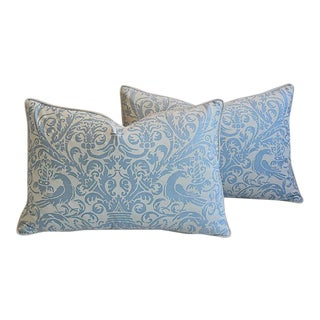 Custom Tailored Italian Fortuny Uccelli Feather/Down Pillows - A Pair