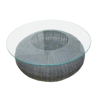 Mid-Century Modern Style Wire Weave Glass Table