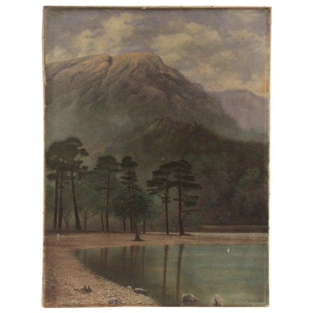 Vintage Mountain Lake Landscape Painting - Image 1 of 4
