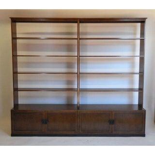 Custom Walnut Wood Bookshelf with Iron Base