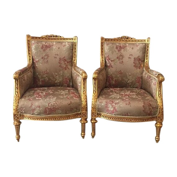 French Louis XVI Chairs Gold Leaf Floral - Pair - Image 1 of 6