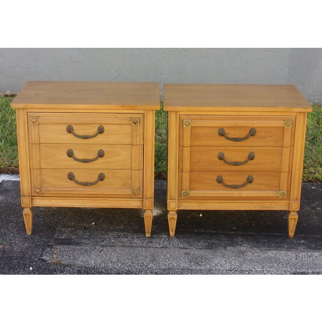 Mid-Century Three-Drawer Commodes - A Pair - Image 2 of 8