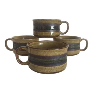 Vintage Mid Century Modern Studio Pottery Stoneware Ceramic Mugs - Set of 4