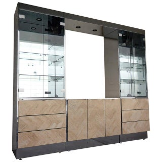 Mirrored Travertine Wall Unit by Ello Circa 1970