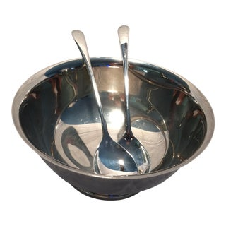 Gorham Silver Plate Bowl & Italian Serving Spoon & Fork