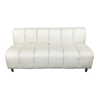 Bernhardt Flair Mid-Century White Ribbed Sofa